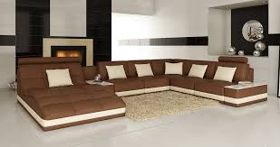 Brown Sectional Sofa With Chaise Casa 6143 Modern Brown And White Leather Sectional Sofa