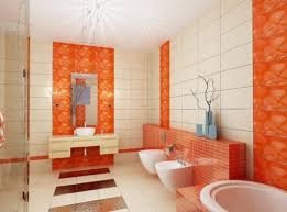 Tiling Around Bathtub Bathroom Orange Accent Bathroom Wall Tiles With Floral Pattern