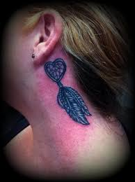 nice one heart dream catcher with feather tattoo design make on