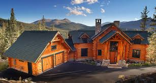 Exterior photos of log homes and timber homes