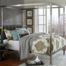 size canopy bed frame king size modern metal canopy bed with upholstered headboard