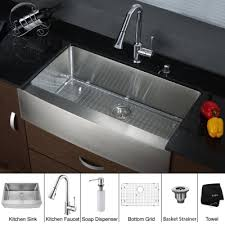 kitchen faucets with soap dispenser kraus khf200 33 kpf1650 ksd30ch 33 inch farmhouse single bowl