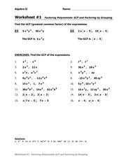 gcf and grouping ws algebra ii name worksheet 1 factoring
