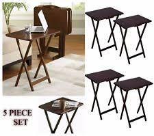 Folding Tray Table Set Folding Snack Table Set Tv Tray End Tables 5pc Wood Dining