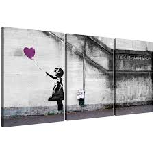 banksy balloon canvas prints set of 3 for your dining room