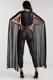 sleeve sequin jumpsuit v neck slim leg cape sleeve sequin glitter lined mesh