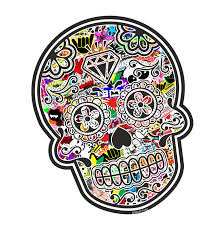 jdm sticker bomb mexican day of the dead sugar skull with jdm style multi colour