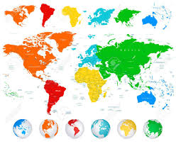 world map political with country names detailed vector world map with colorful continents political
