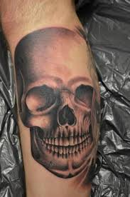 leg skull tattoo by freaky colours