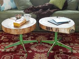 how to make an upcycled table from old log and a chair base how