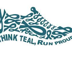 teal ribbons think teal walk proud tennis shoe svgdxfepspngjpgand pdf