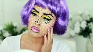pop art makeup halloween idea comic book crying cartoon