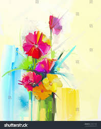 abstract art oil painting spring flower stock illustration