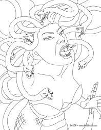 medusa the gorgon with snake hair coloring pages hellokids com