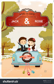Invitation Card For Pooja Just Married Cute Wedding Car On Stock Vector 147813482 Shutterstock