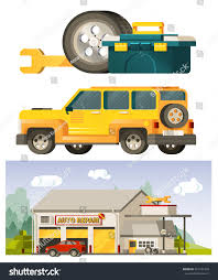 box car clipart vector flat illustration auto repair cars stock vector 501471259