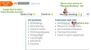 how to put a check on a prepaid card cebu pacific how to add baggage allowance or upgrade prepaid
