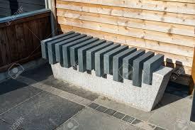modern style design stone marble garden park bench stock photo