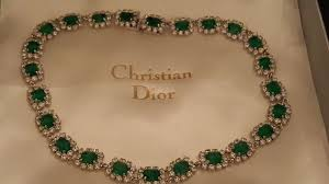 green emerald necklace images Christian dior vintage crystals emerald necklace with original box jpg