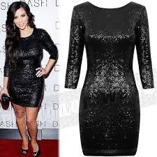 celeb style kim kardashian shiny sequin dress s xxl plus size
