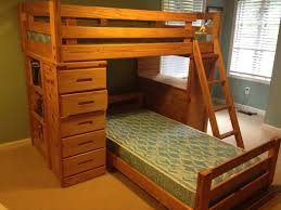 Bunk Bed With Desk And Dresser Simple Wooden L Shaped Bunk Bed With Desk And Drawers Plus Shelves
