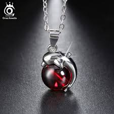 sterling silver stone necklace images Orsa jewels fashion 925 sterling silver red natural stone dolphin jpg