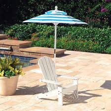 white adirondack chair with umbrella turquoise and white stripes