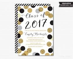 graduation invite printable graduation invitation black gold polka dots graduation