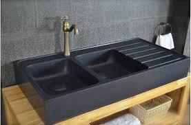 evier de cuisine à poser 120x60 évier granit noir de cuisine en 2 cuves égouttoir