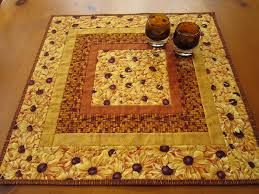 quilted table topper golden flowers on luulla