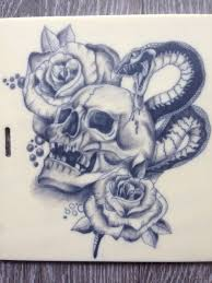 snake skull roses rose tattoo mother daughter tattoo