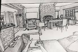 sketch room sat down with a sketchbook and started drawing my living room pics