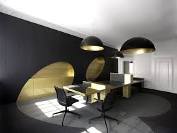 simple office design black round chandelier on plain ceiling under office table on nice