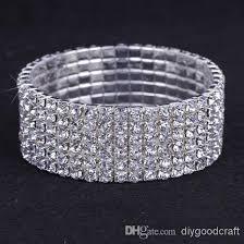 rhinestone bangles bracelet images 2018 6 rows austria cz rhinestone bracelet crystal womens elastic jpg