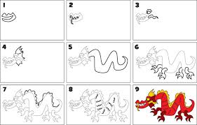 draw chinese dragon kid scoop
