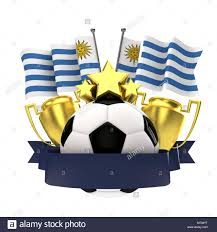 football ribbon uruguay flag football winners emblem with trophy and