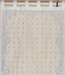 Beaded Window Curtains Decorative Sheer Curtains Ivory Beaded Zardozi Window Panel 92