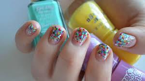 rainbow polka dot nail art tutorial youtube