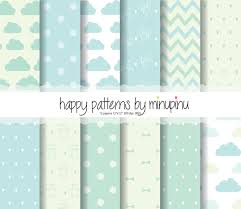 baby digital paper baby boy mint and blue patterns clouds
