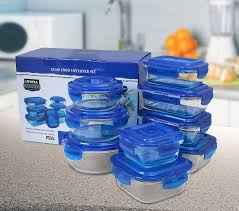 cobalt blue kitchen canisters amazon com glass food storage container set blue 18 pieces