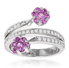 hand rings images Ladies diamond right hand rings 14k gold pink topaz flower ring jpg
