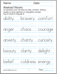ideas of collective and abstract nouns worksheets in service
