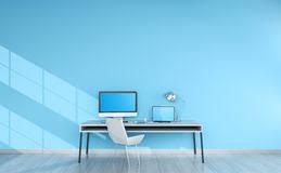 le de bureau bleu intérieur de bureau bleu moderne avec le rendu des dispositifs 3d