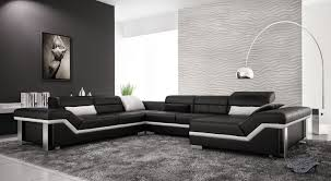 Modern Leather Sofa Furniture Black Modern Leather Sofa With Black Rug And Arch Floor