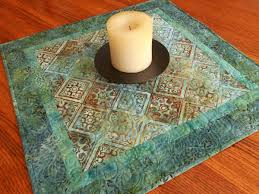 quilted square table toppers batik table topper in blues and greens quilted square table topper