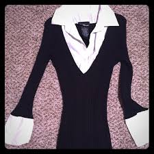 black sweater with white collar 86 tops black sweater top with white collar and cuffs from