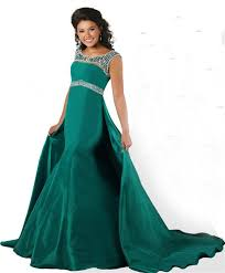 scoop neck open back green taffeta beaded teen prom dress