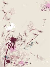 floral background with dandelion and butterfly royalty free