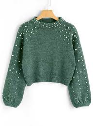 green sweater faux pearl mock neck sweater green sweaters l zaful