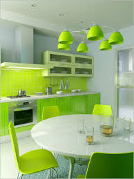 green chair green pendant light green kitchen backsplash green